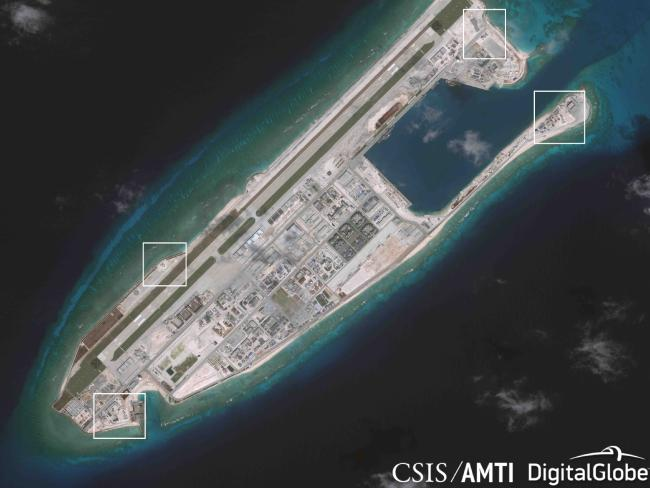 Images of anti-aircraft and antimissile systems on artificial islands built by China in the South China Sea, according to the Asia Maritime Transparency Initiative at the Centre for Strategic and International Studies.