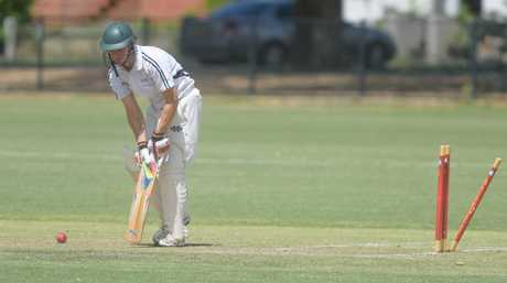 Yass batsman David Field loses his stumps against Cessnock in the Country Plate semi-final at Lower Fisher Park