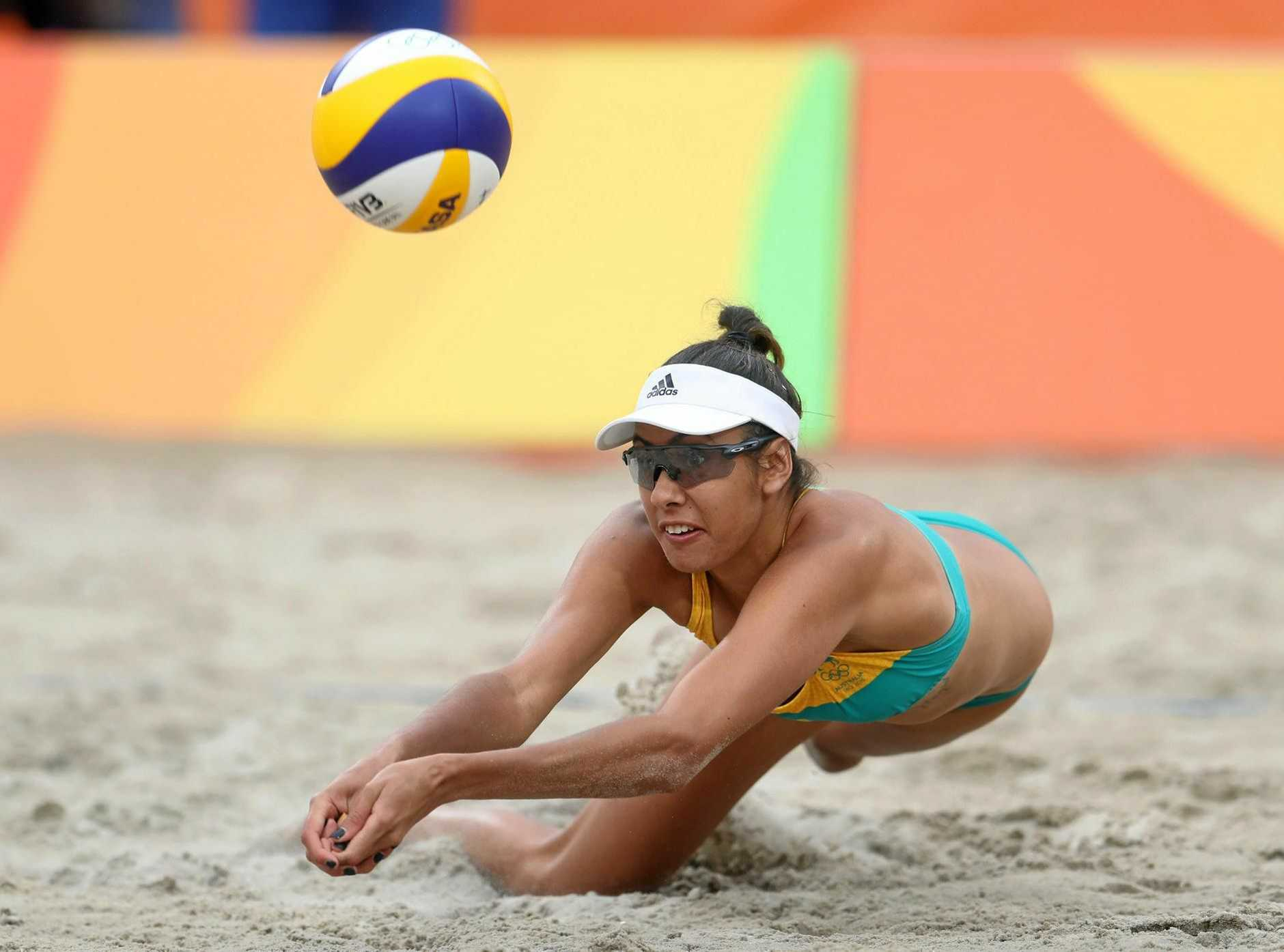 GOING FOR GOLD: Kingaroy's Taliqua Clancy dives for a ball during a women's beach volleyball match against Netherlands at the 2016 Summer Olympics in Rio de Janeiro, Brazil.