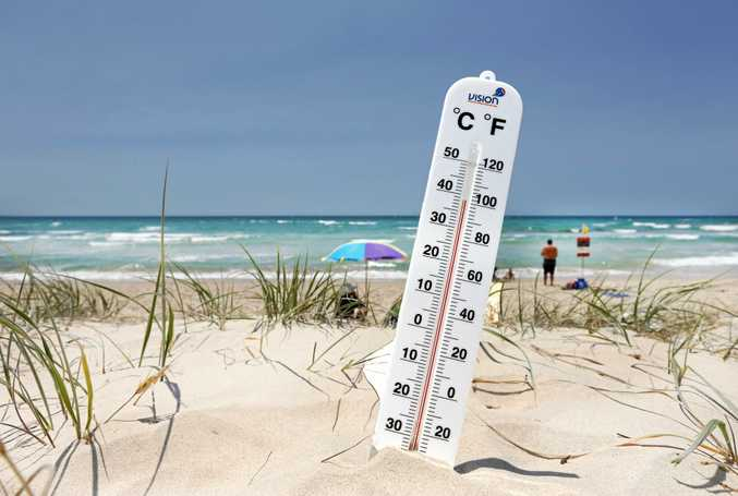 A temperature of 38 was reached in the sand dunes of Kirra beach at 1.30pm today during the early summer heat on the Tweed Coast.Photo: Scott Powick Daily News