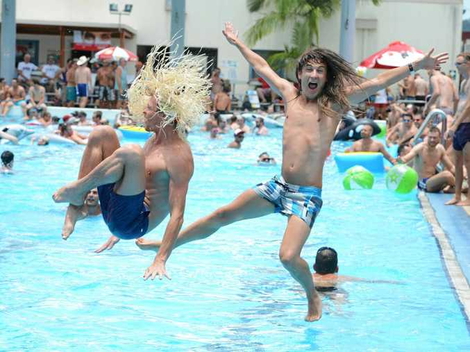 Pictured at Lismore Memorial Baths  for the Tropical fruits pool party Are from left   Sydney visitors Gareth Rowe of Sydney and Darren Prendergast  Photo Jacklyn Wagner / The Northern Star