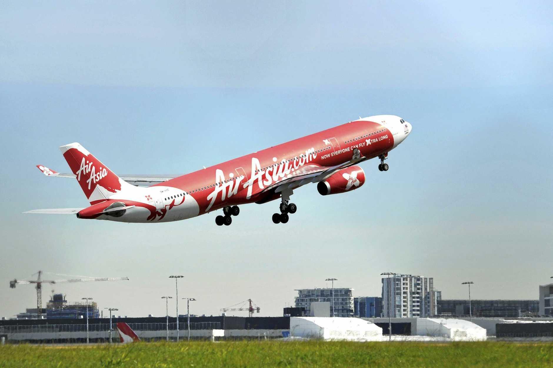Air Asia aircraft seen at Sydney International Airport.