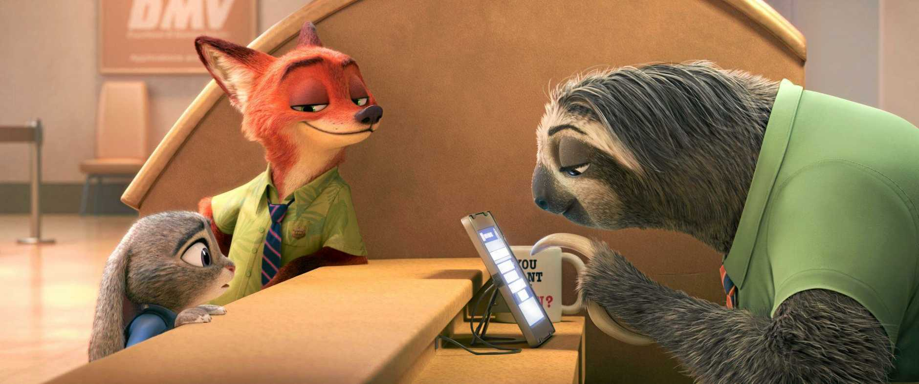 A scene from the animated movie Zootopia.