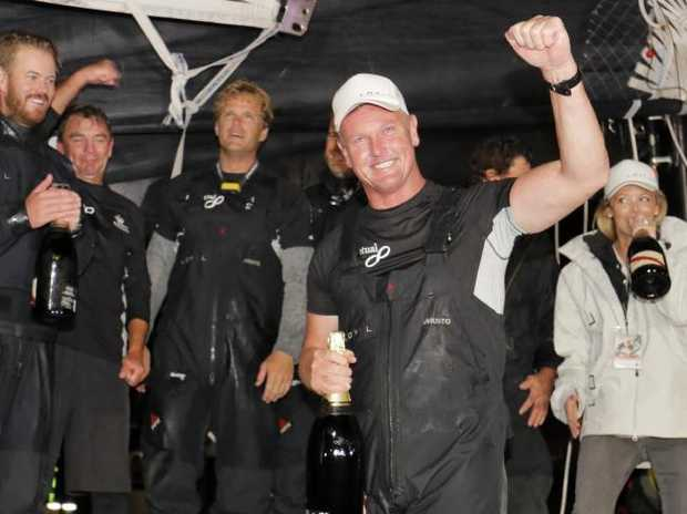 Skipper/Owner Anthony Bell celebrates his the with the crew. Picture: Richard Jupe Source: News Corp Australia