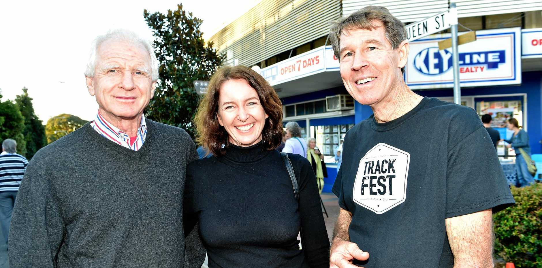PIECES OF HISTORY: Michael Foley (left), with Beth Jackson and Peter Clarke, has left a lasting legacy through his public art and passion to retain Nambour's sugar heritage.