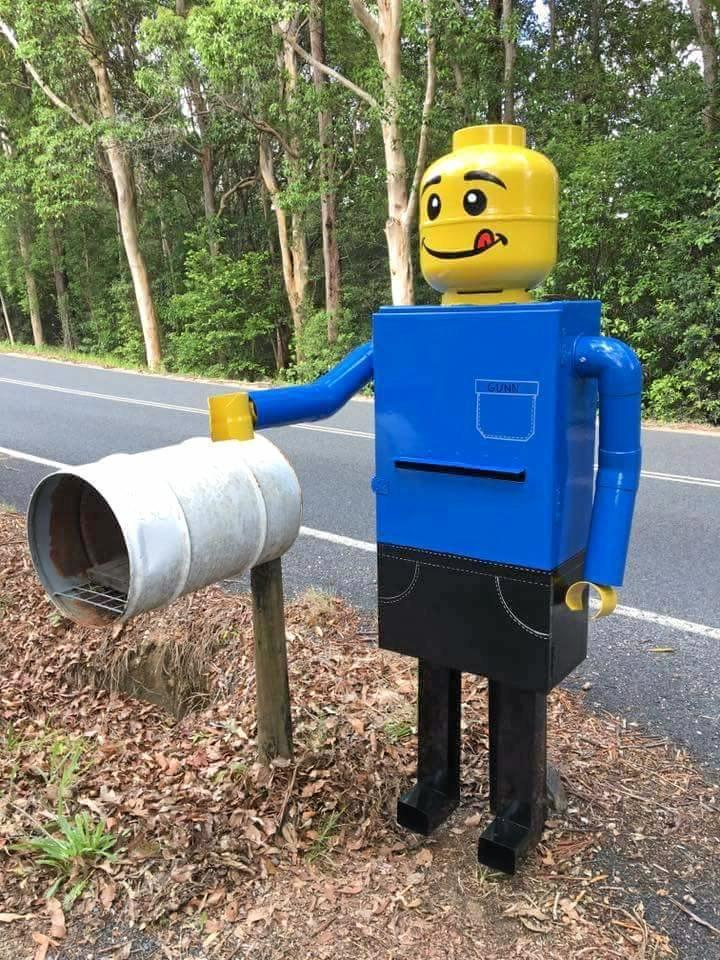 Lego-like letterbox photographed in Uki, a village  near Mount Warning in the Tweed Valley of far northern New South Wales