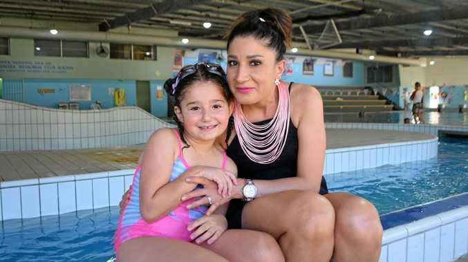Gabriella and Suzy Kairouz keep cool at the WIRAC pool.