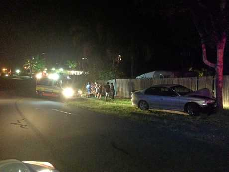 A Holden Commodore smashed in to a tree behind Hungry Jacks last night.