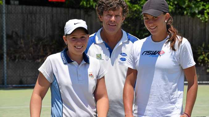 Coffs Harbour tennis coach Tony Polack with two of his star proteges, Krystal Clarke and Ashley Allman who've both been selected to represent NSW. Photo: Brad Greenshields/Coffs Coast Advocate