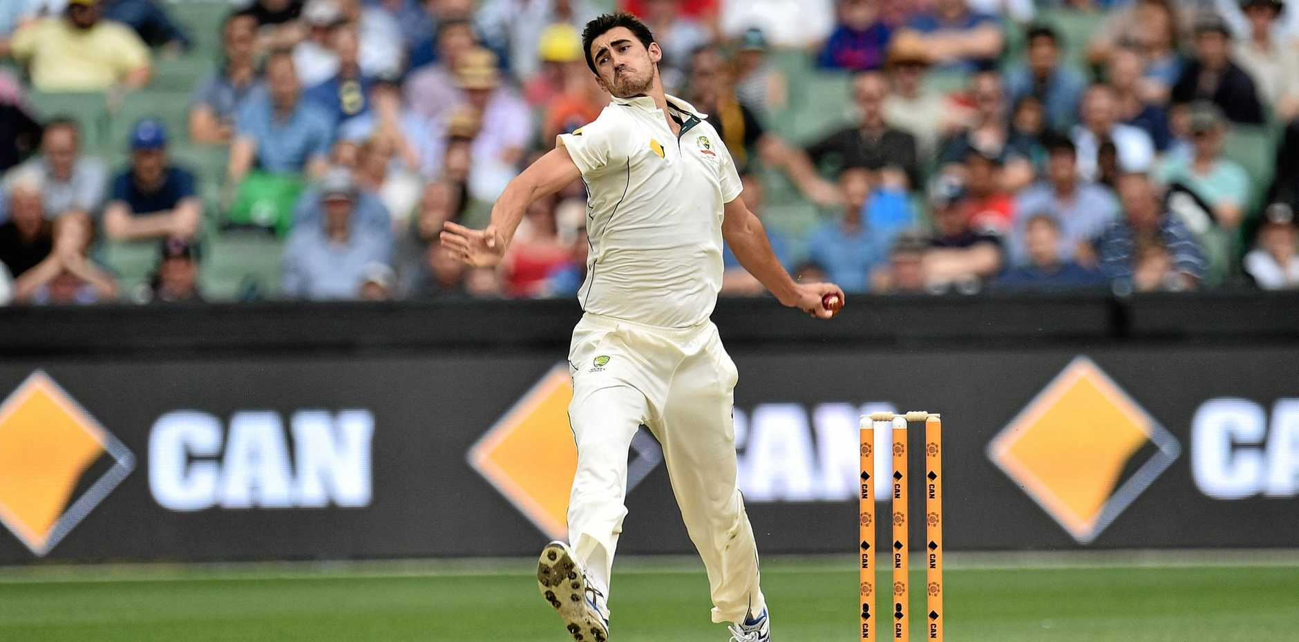 Mitchell Starc of Australia bowls during the Boxing Day Test.