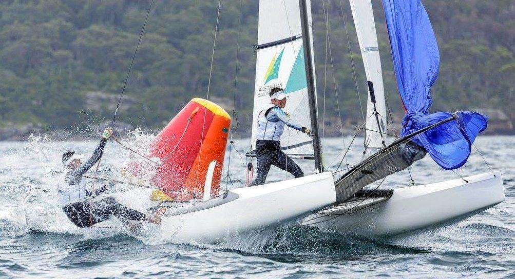 Jai Tooley and Jai Miller compete in the Sail Sydney regatta.