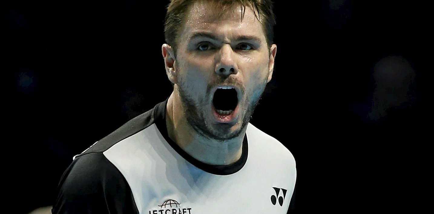 Switzerland's Stan Wawrinka reacts after winning a point at the ATP World Tour Finals.