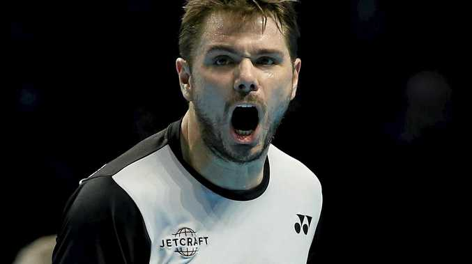 Switzerland's Stan Wawrinka reacts after winning a point at the ATP World Tour Finals.
