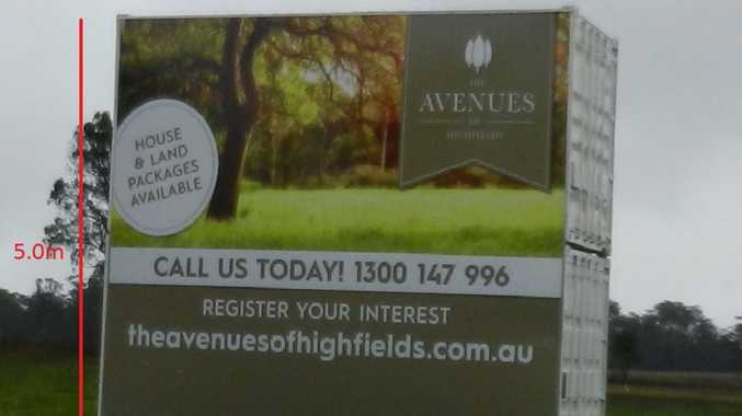 The billboard advertising the Avenues of Highfields.