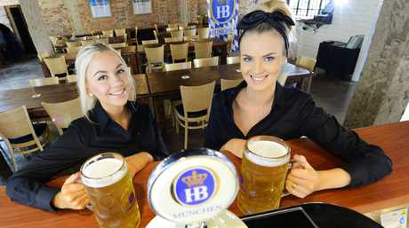 German beer house Heisenberg officially opened last night. Staff members Corina Fechner and Gabrielle Towns. Photo: David Nielsen / The Queensland Times