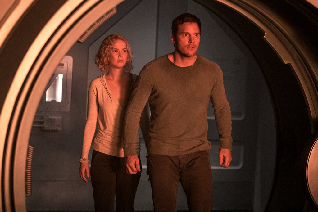 Jennifer Lawrence and Chris Pratt in a scene from the movie Passengers.