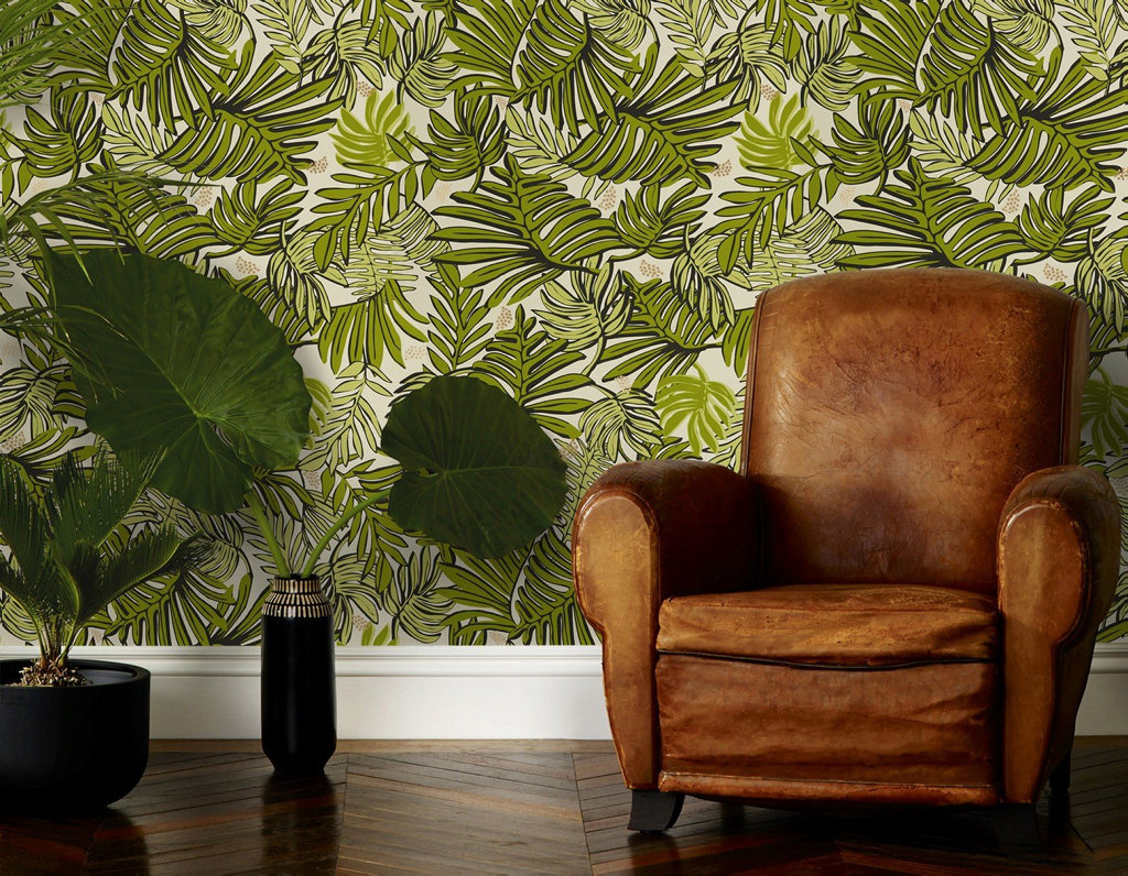 Vibrant greens and rich timbers will be on trend in 2017, like this wallpaper by Justina Blakeney for Hygge & West. Find it at thejungalow.com.