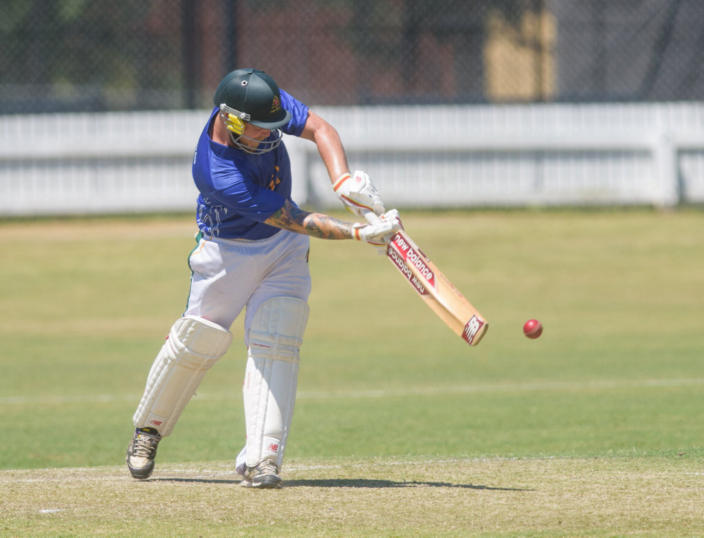 Tweed Heads batsmen Tait Burns hits through the legside during the Country Cup Final at Ellem Oval.