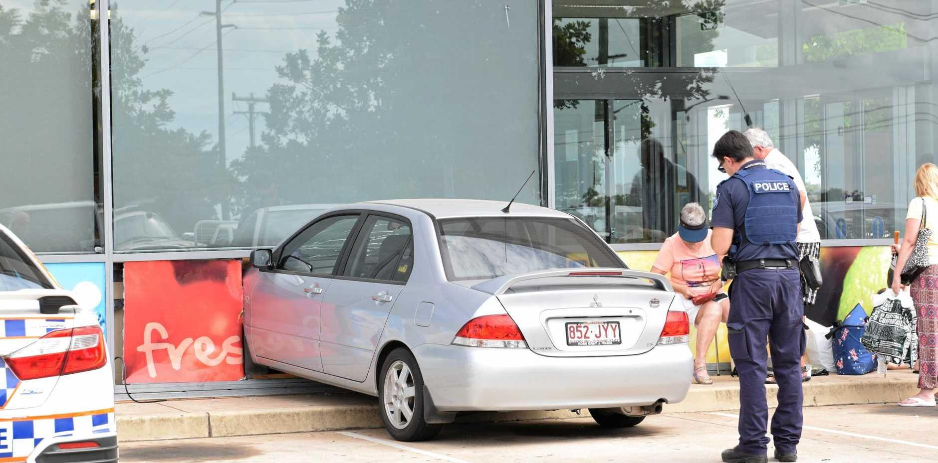 DRIVER MAKES AN ENTRANCE: A car crashed into Aldi Avoca during April.