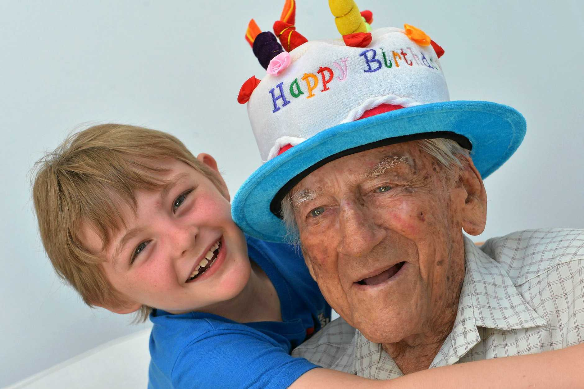 MAJOR MILESTONE: Keith Doyne Coutts, pictured with Jett, will turn 104 tomorrow.