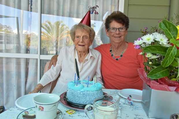 CELEBRATION: Lottie Hurford is celebrating her 107th birthday today. She is pictured here with her octogenarian daughter, Phillis Kerr.