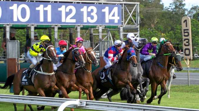 JUMPING: The start of the class 3 handicap (1530m) at Murwillumbah on Tuesday. The eventual winner is Royal Roulette in the red, white and blue silks in the middle of the pack.