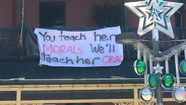 The Brass Monkey Hotel in Perth is under fire after offensive banners were hung from the balconies. Picture: Facebook/Sam Lara