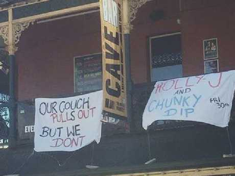 The sexist banners hung from the balconies of the Brass Monkey Hotel in Perth sparked a public backlash. Picture: Facebook/Sam LaraSource:Facebook
