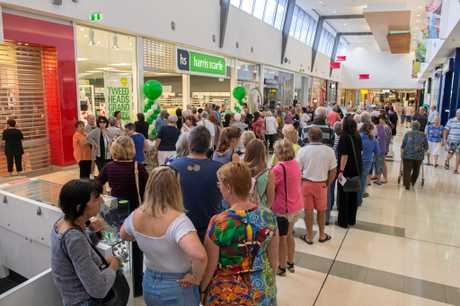 Queues lining up on Thursday for the opening of the new Harris Scarfe store at Tweed City.