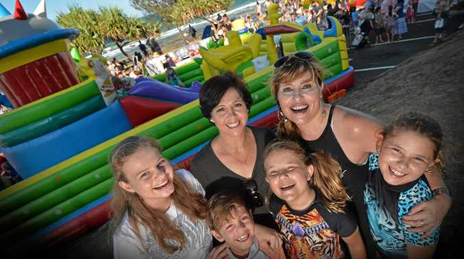 Getting ready for New Years Eve 2016 at Mooloolaba Beach are Laila O'Reilly, 7, Lauche O'Reilly, 10, Micah Fourie, 8, Samantha Fourier, 14, with mums, Linda O'Reilly and Bettie Fourie.