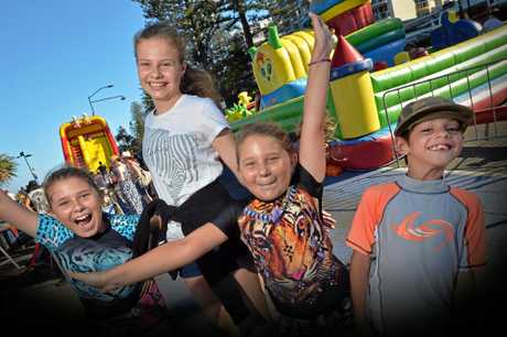 Getting ready for New Years Eve 2016 at Mooloolaba Beach are Laila O'Reilly, 7, Lauche O'Reilly, 10, Micah Fourie, 8, and Samantha Fourier, 14.