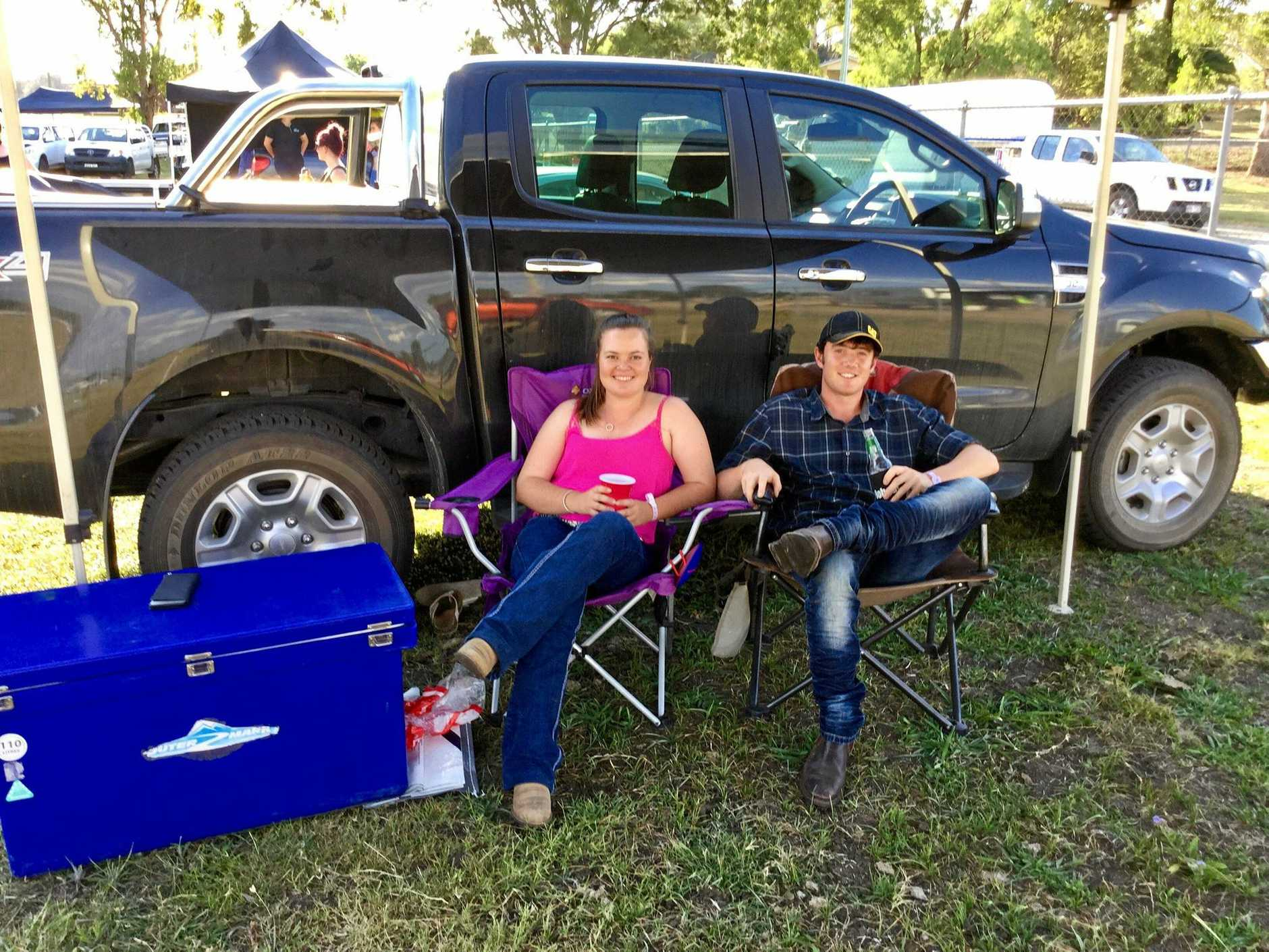PARTY FOR TWO: Kaitlyn Hodges from Laidley and Luke Bond from Buderim at Steeles Warwick NYE Rodeo.