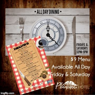 All day dining at the Planto.