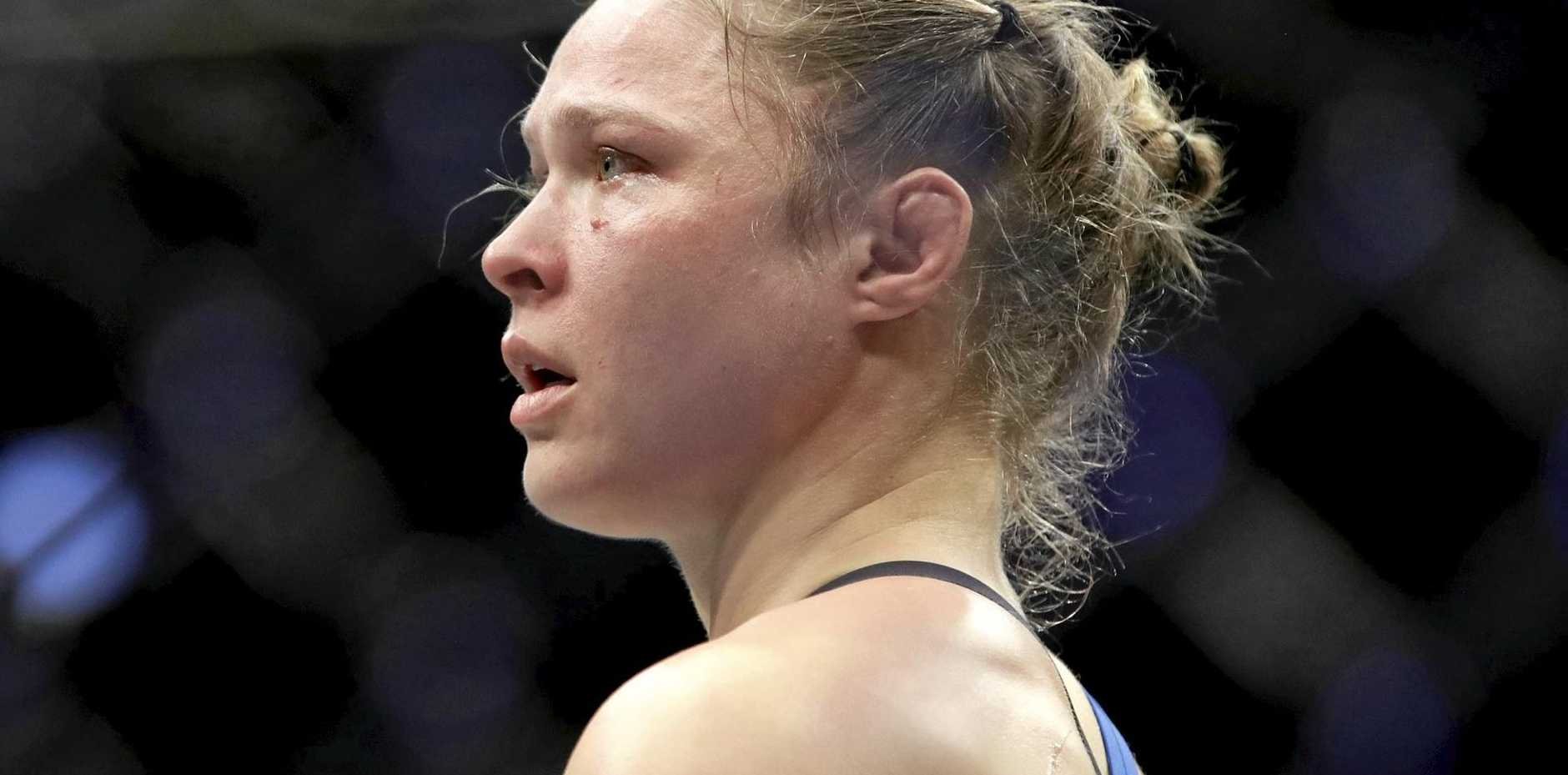 Ronda Rousey after her women's bantamweight championship mixed martial arts bout with Amanda Nunes.