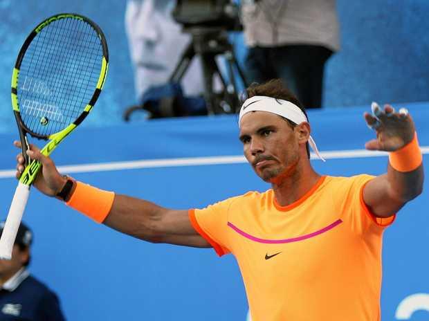 Rafael Nadal of Spain celebrates winning against David Goffin of Belgium during the final of the Mubadala World Tennis Championship in Abu Dhabi.