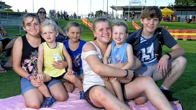 Charmaine Armstrong, Mia Counsell, Cassie Armstrong, Aleisha Armstrong, Chloe Counsell and Bruce Armstrong at the Ipswich New Years Eve celebration at North Ipswich Reserve.