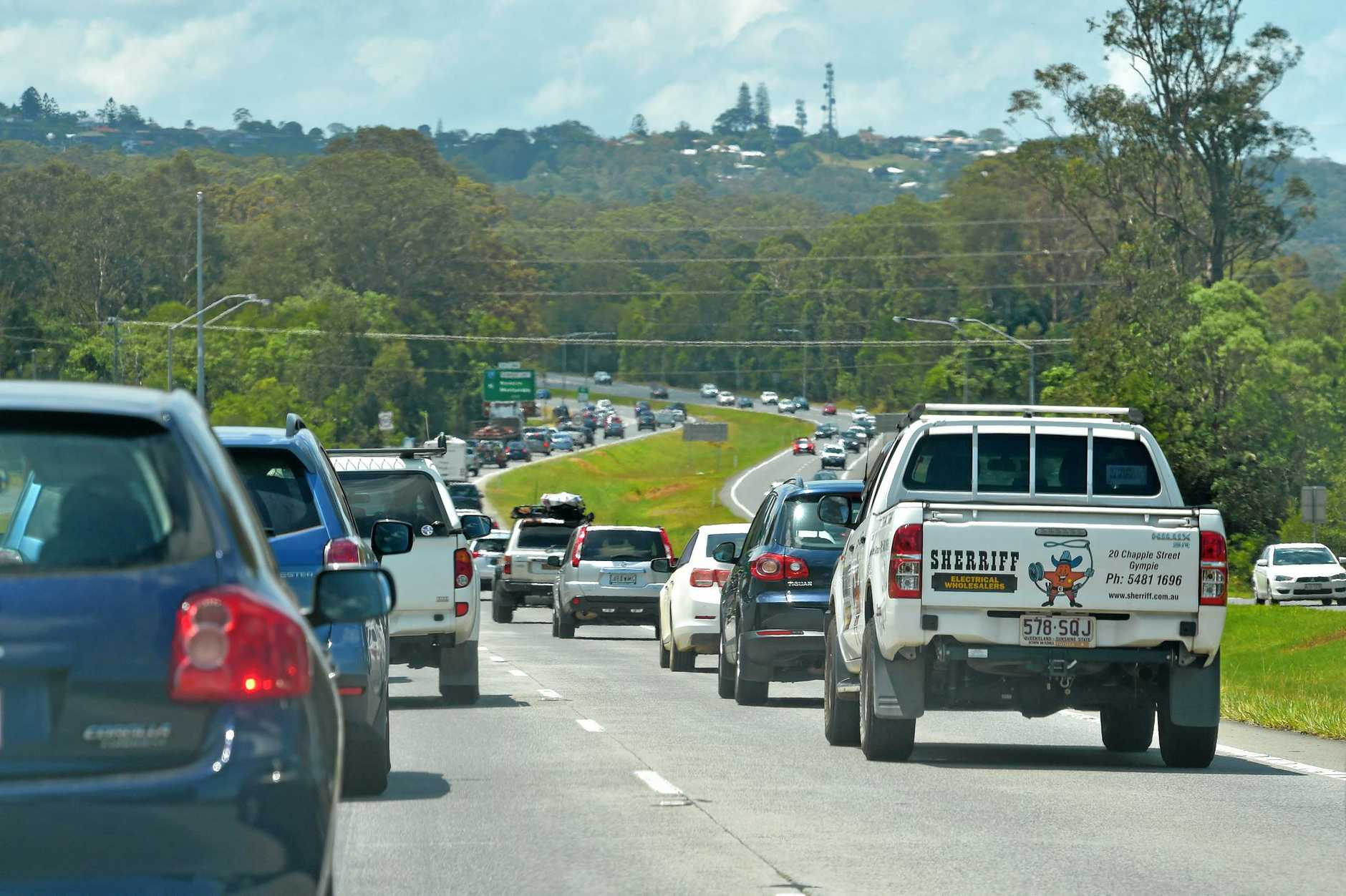 Traffic build up after an accident on the Bruce Highway.