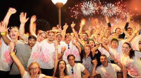 Revellers at the NYE Beach Party at the Opera Bar in Sydney.