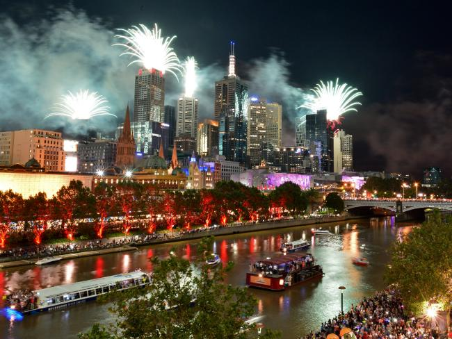 A view of the Melbourne New Year's Eve fireworks looking from the Langham Hotel.