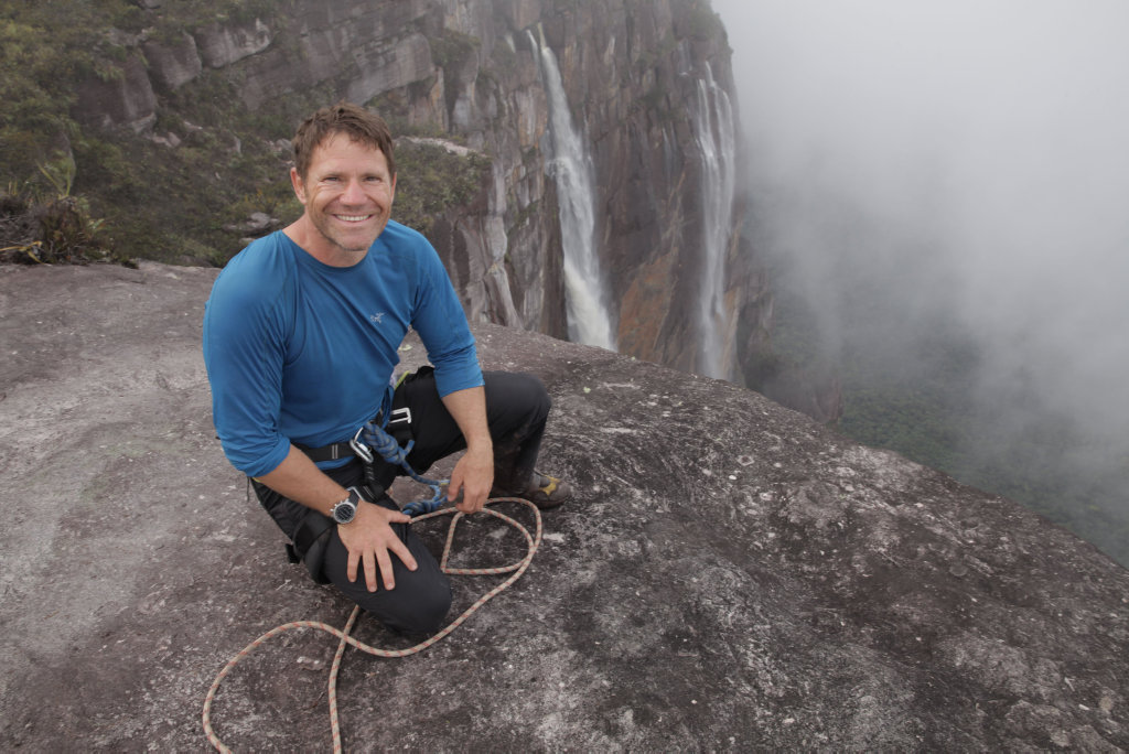 Adventurer and TV presenter Steve Backshall at the top of the worlds highest waterfall, Angel Falls, in the Canaima National Park in Venezuela.