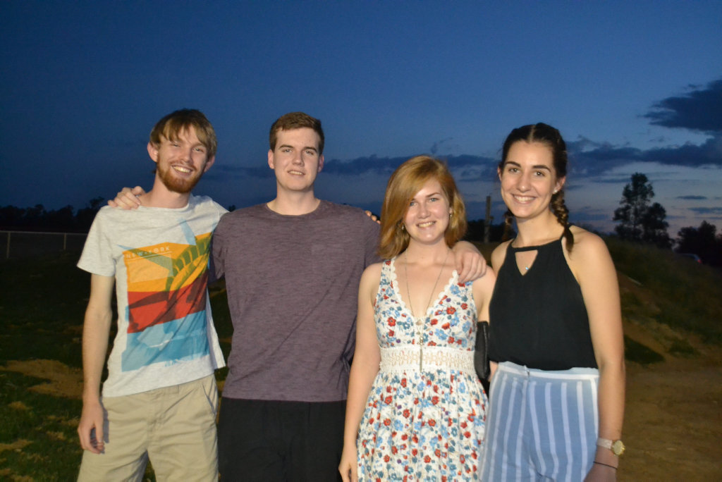 Image for sale: Josh Luebbe, Isaac Allwood, Rhianna Allwood and Angela Krause at the Miles New Years Eve beach party celebrations. 31/12/16.
