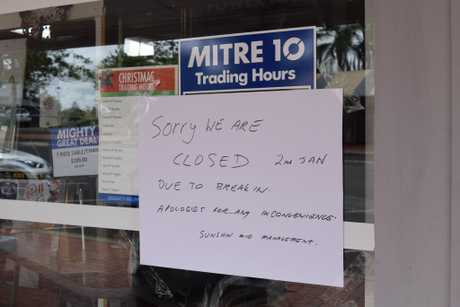 Sunshine Mitre 10 at Cooroy was closed after thieves struck the business for the second time in a week.