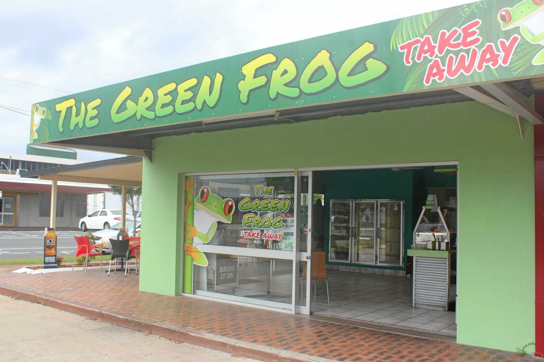 The Green Frog Takeaway store is located on Gregory and Alfred Sts.