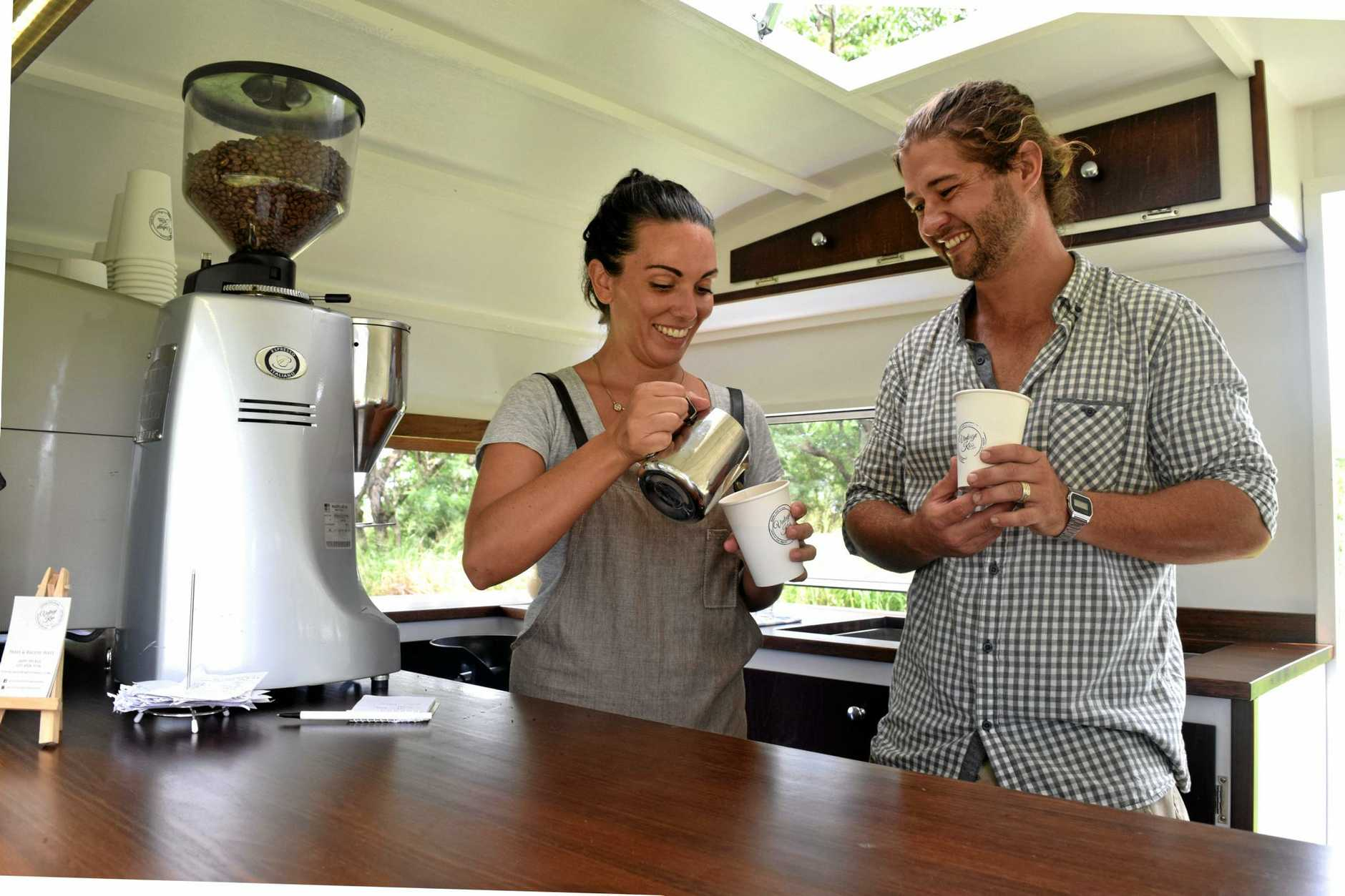 Paris and Brodie West have already ground through six kilograms of coffee beans, on their second day on the job.