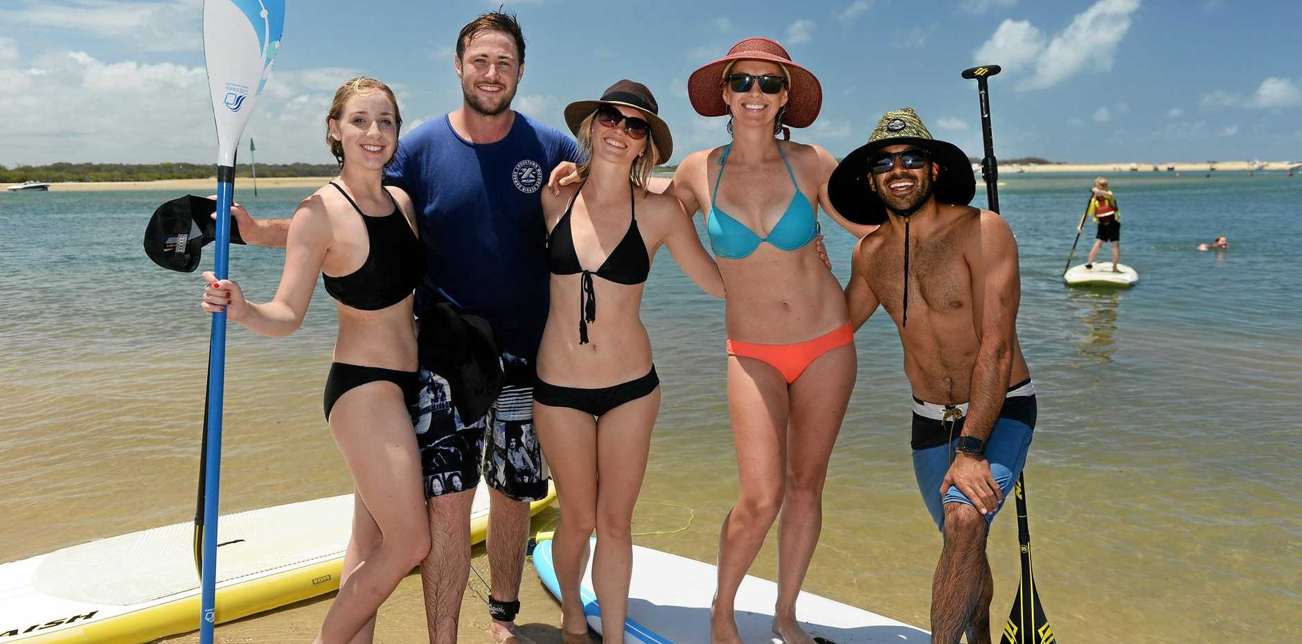 HEAT IS ON: Beating the heat at Cotton Tree are Catherine and Kieran Connolly with Cara Szabo, Michelle Ward and Shayan Barmand.