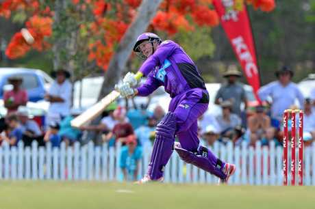 BIG BASH: Brisbane Heat and Hobart Hurricanes in action on John Blanck Oval in Buderim as part of a warm up for the 2017 Big bash. George Bailey makes a half century.