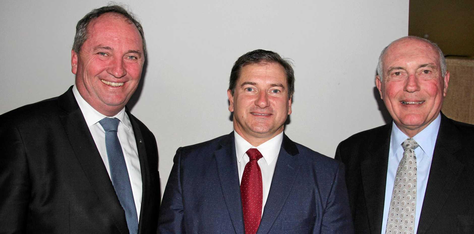 Former Wide Bay Mp Warren Truss, Barnaby Joyce, Llew OBrien and Warren Truss.