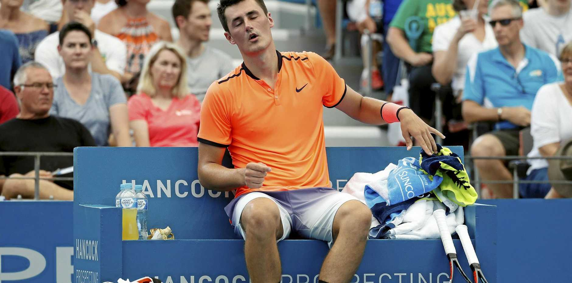 OUT OF SORTS: Bernard Tomic couldn't get going in his first round match against David Ferrer at the Brisbane International.