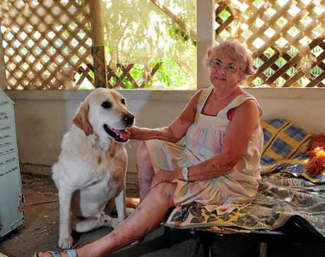 Tewantin woman Bron Norman with her dog Tomie and the hole he chewed in panic when neigbours let off illegal fireworks on New Year's Eve.