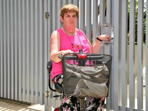 NO ROOM: Mary Walsh, confined to a mobility scooter by MS, was refused service at a Bulcock St business on New Year's Eve while holidaying in Caloundra.